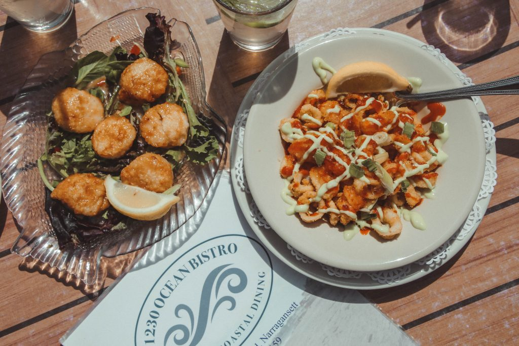 Thai Chili Calamari and Scallops at Ocean Bistro Narragansett Rhode Island